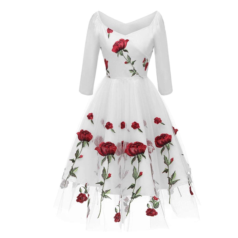 女性のドレス、三番目の店 女性 レトロ ヴィンテージ プリンセス レース 刺繍 Vネック カクテルパーティー Aライン スカート プリンセスドレス