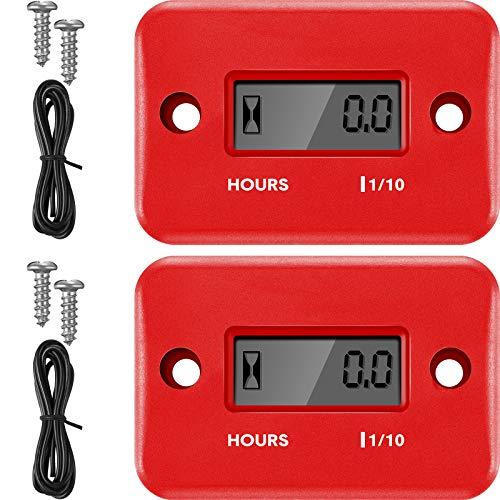 2 Piezas Contadores de Horas Inductivos Medidor de Motor Digital Tacómetros de Apagado Automático Tacómetros de Hora Pequeña para Motocicleta Cortacésped Generador (Rojo)