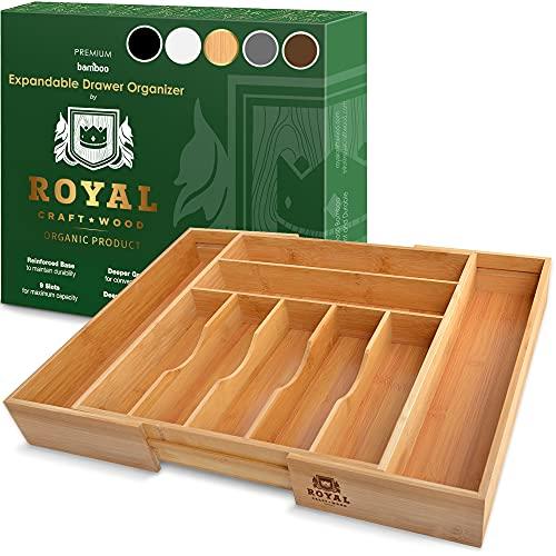 Bamboo Kitchen Drawer Organizer - Expandable Silverware...