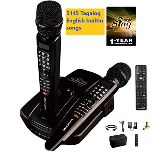 ET23PRO Built-in 5145 Tagalog English songs Magic Sing WIFI Karaoke 12K English + 1 Year Subscription for English Tagalog Hindi Spanish Russian Vietnamese Japanese Korean songs & more