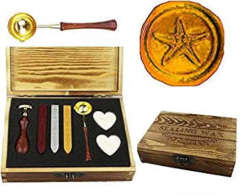 MNYR Vintage Starfish Sealing Wax Seal Stamp Kit Melting Spoon Wax Stick Candle Wooden Book Gift Box Set Wedding Invitation Embellishment Holiday Card Gift Wrap Package Gift Idea Seal Stamp Set