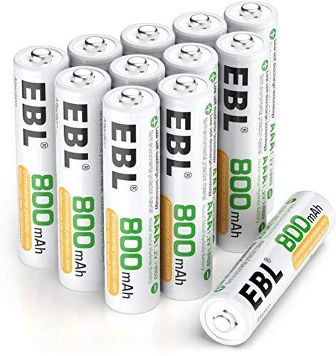 EBL AAA Batterie Ricaricabili Ad Alta Capacità,Pile Ricaricabili da 800mAh Ni-MH con Astuccio Ricarica da 1200 volte,Confezione da 12 pezzi
