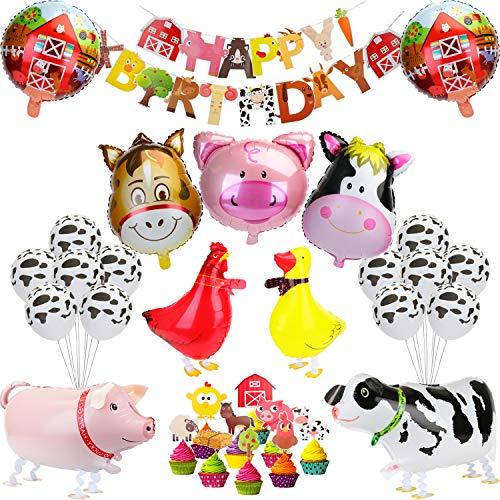KATELUO Animales de Granja Fiesta de Cumpleaños Decoracion Globos, Pancarta de Feliz Cumpleaños, Happy Birthday Guirnalda para Niño, Niña, Fiesta Infantil, Jardín de Infancia