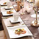 MALACASA, Serie Flora, 18 TLG. Set CremeWeiß Porzellan Kaffeeservice Geschirrset mit je 6 Kuchenteller, 6 Tasse 220ml, 6 Untertasse für 6 Personen - 8