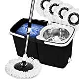 EVELYN LIVING 360 Spin Mop Bucket Set Stainless Steel Spin Wringer with 4