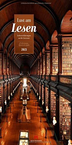Lust am Lesen - Kalender 2021, Wandkalender im Hochformat (33x66 cm) - Literaturkalender zu Büchern und Bibliotheken mit Zitaten von Schriftstellern