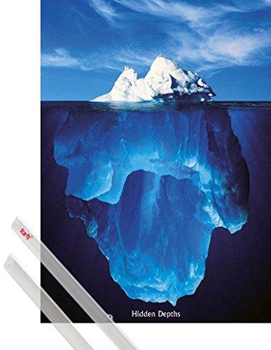 1art1 Motivation Poster (91x61 cm) Eisberge, Verborgene Tiefen Inklusive EIN Paar Posterleisten, Transparent