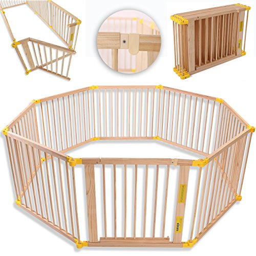 KIDUKU® Baby Child Playpen XXL Foldable Incl. Door, Consisting of 8 Panel, Individually Malleable Play Pen