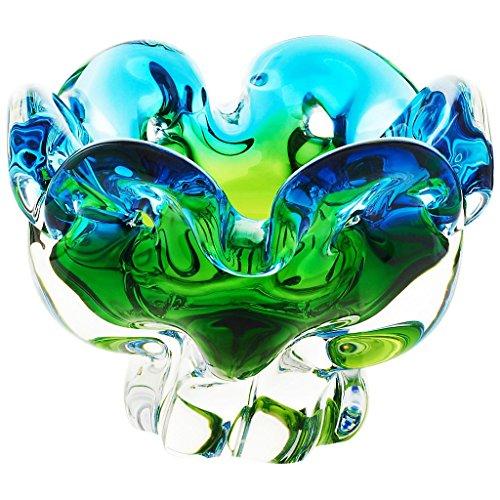 Schale Obstschale Konfektschale Murano Sky Grün Blau D 14,5 cm Traumhaft Handgeformte Schale