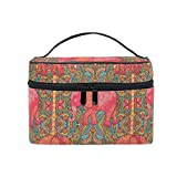 Nander Makeup Bag Paisley Elephant Travel Cosmetic Bags Organizer Train Case Toiletry Make Up Pouch