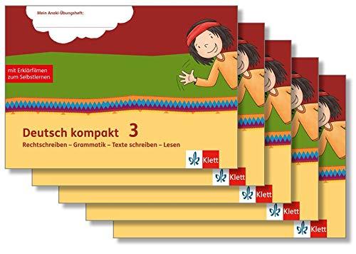 Deutsch kompakt 3. Rechtschreiben - Grammatik - Texte schreiben - Lesen: Übungsheft mit Erklärfilmen Paket (VE5) Klasse 3 (Mein Anoki-Übungsheft)