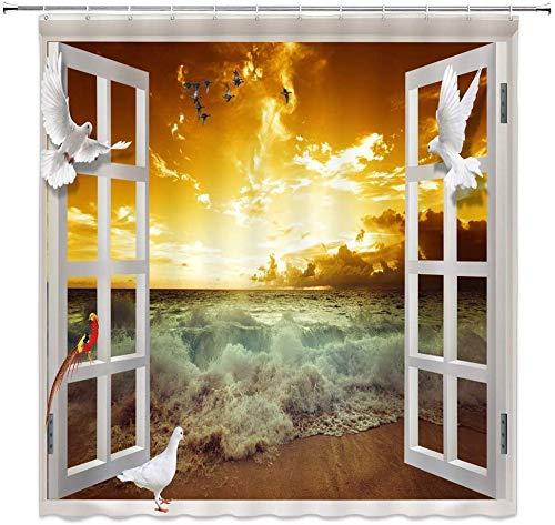 Duschvorhang Taube Papageien Fantasieren über Sonnenuntergang am tropischen Ozean Strand mit Gardinenn & Gardinenn Design Vorhang Polyester wasserdichtes Gewebe mit 12 rostfreien Haken 72x72 In