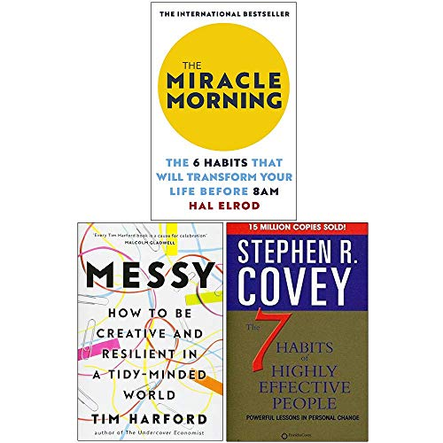 The Miracle Morning, Messy [Hardcover], The 7 Habits Of Highly Effective People 3 Books Collection Set