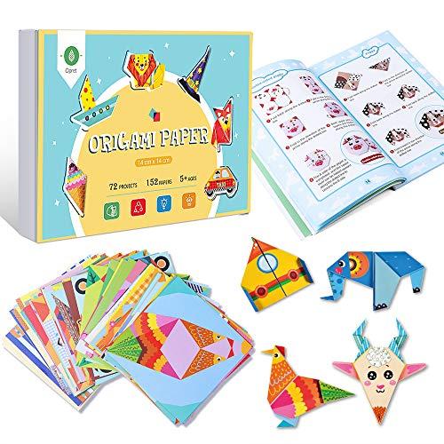 Opret - Kit de papel para origami, papiroflexia. Incluye 152 papeles de 14 x 14 cm, 72 diseños, libro y 72 vídeos explicativos, para principiantes, adultos, niños, material para manualidades