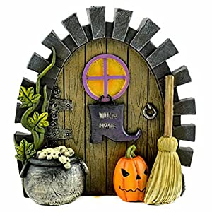 sytz miniature fairy garden halloween witch home door wcauldron