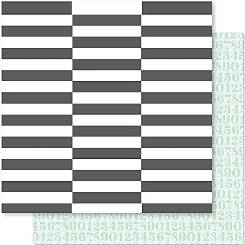 American Crafts 332586 25 Sheet Broken B & W Stripes/Numbers Seven Paper Darcy Double-Sided Cardstock No.4, 12