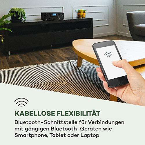 auna Worldwide CD - Internetradio mit Bluetooth, DAB/DAB+ Radio, MP3-fähiger USB-Port, mit CD-Player, Spotify Connect, AUX, App Control, Timer, schwarz