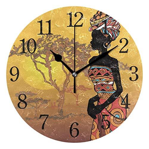 Wowprint orologio da parete, orologi pittura decorativa arte africana donna acrilico rotondo lancetta per ufficio scuola casa camera da letto soggiorno bagno cucina Decor
