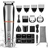 Professional Beard Trimmer for Men,Cordless Electric Hair Clippers Cutting Grooming Kit 6 in 1 Multi-functional Shaving Machines for Head Facial Nose Ear Body with Waterproof,LCD Display,USB Charge