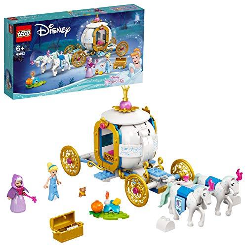 LEGO 43192 Disney Princess Cinderellas königliche Kutsche Spielzeug mit 2 Minipuppen und Pferdefiguren