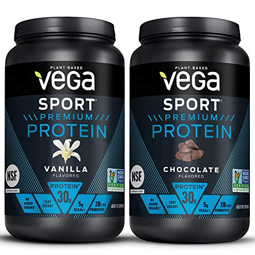 Vega Sport Premium Protein Powder Bundle, Chocolate + Vanilla, Plant Based Protein Powder Post Workout - Certified Vegan, Vegetarian, Keto-Friendly, Gluten Free, Dairy Free, BCAA Amino Acids