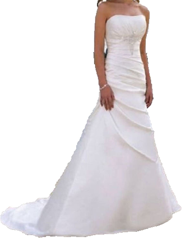 BEALEGAN Lady Women's Stock Strapless Wedding Dresses Beaded Satin Bridal Gowns