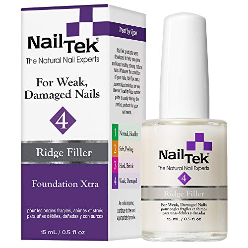 Nail Tek Foundation Xtra 4, Ridge Filling Strengthening Base Coat for Weak and Damaged Nails, 0.5...