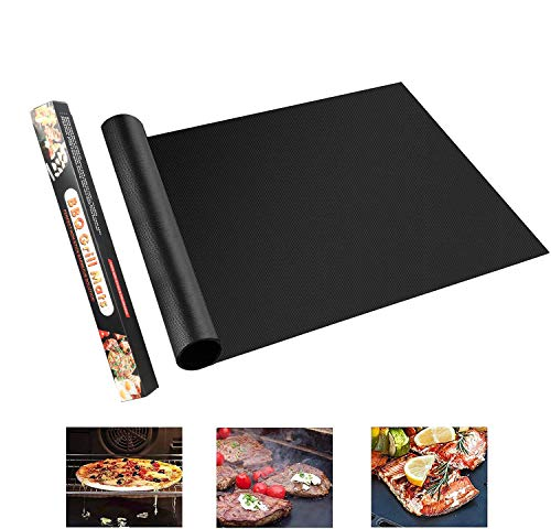 YOWAO BBQ Grill Mats Non Stick Reusable - BBQ Mats for Gas Grill, Oven Liners for Bottom of Oven, Teflon Sheets Easy to Clean for Grills Ovens and Outdoor Grills (Black- 40x180 cm)