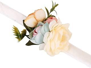 AXEDENRT Pack of 4 for Men Women Bead Wristband Groom Groomsman Roses Wrist Corsage Stretch Bracelet Natural