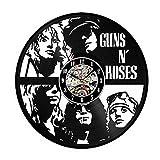 LittleNUM Disco de Vinilo Reloj de Pared Decorativo Reloj de Pared de Silencio Guns N'Roses Caso Reloj de Pared Creativo, Styled