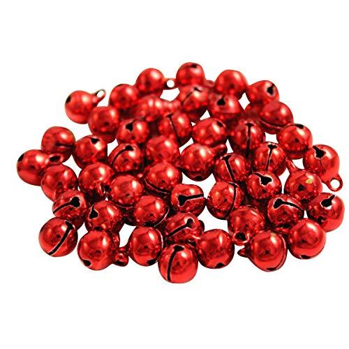 Kleenes Traumhandel - Set de 100 cascabeles de cobre (11 x 7 mm), rojo, 11 x 7 mm