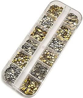 1000 Pcs Gold and Silver Nail art metal rivets,12 Designs Rhinestone Nail Metal Rivets