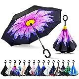 ZOMAKE Inverted Stockschirme, Innovative Schirme Double Layer, Winddicht Regenschirm, Freie...