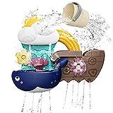 SLDALES Badespielzeug Baby, Badewanne Spielzeug mit Tasse, Wale und Schiff Wasserdusche Spielzeug für 18 Monaten+ Kinder Jungen Mädchen Geschenk