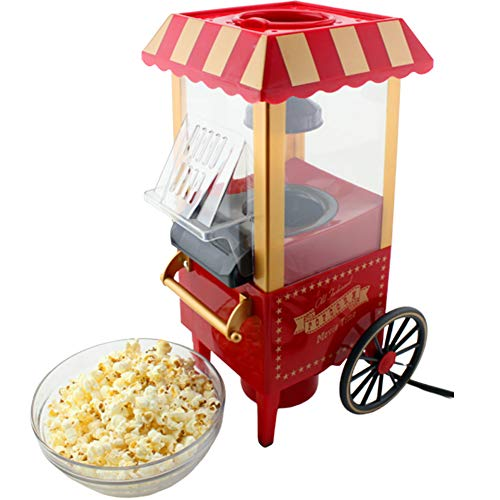 XYQC Gourmet Popcorn Machine,Best Air Popcorn Popper Classic Car Shape Popcorn Machine Cart Electric Popcorn Device Fat Free and Healthy