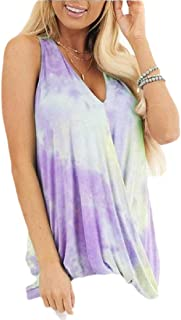 desolateness Women's Sleeveless Color Block Tie Dye Tunic Tops Pullover Top V Neck T-Shirt Vest Tanks Tops