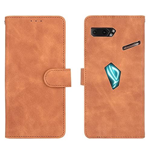 Teléfono Flip Funda Shell Cartera para ASUS ROG TELÉFONO II ---- ROG TELÉFONO 2 ZS660KL, cartera de cuero PU con titular de la tarjeta de crédito Tapa protectora a prueba de golpes para ASUS ROG TELÉF