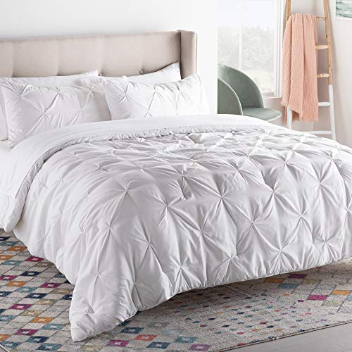 LINENSPA All- Season Hypoallergenic - Plush Microfiber Fill - Machine Washable Alternative Comforter, Oversized King, White Pinch Pleat