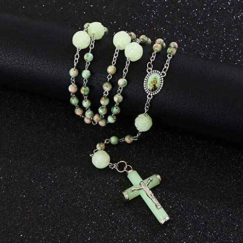 L-YINGZON Collares Cuentas Luminosas de aleación gótica Religiosa Rosario Collares Cristo Jesús Cruz Encantamiento Collares Joyería de oración Collana R-378 Joyas