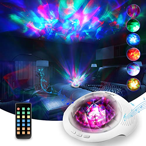 Soaiy Aurora/Northern Light Projector with White Noise Sound Machine, Bluetooth Speaker/Timer/Remote, LED Laser Bedroom Ceiling Decor Projector Light for Adults, Baby, Kids Sleep/Relax Gaming Room/Bar