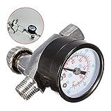 Fácil de montar 1/4 pulg ajustable de presión del regulador de aire medidor de escala HVLP Herramientas pistola neumática de aire del aerógrafo Accesorios Fácil pulverización ( Color : Black )