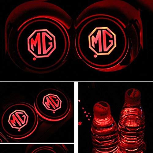 Luces de atmósfera del logotipo del coche Copa LED coche de la estera de luz con 7 colores que cambian de carga USB, Ambiente luminiscentes taza del cojín interior lámpara luz de la decoración de MG