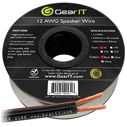 12AWG Speaker Wire, GearIT Pro Series 12 AWG Gauge Speaker Wire Cable (50 Feet / 15.24 Meters) Great Use for Home Theater Speakers and Car Speakers Black