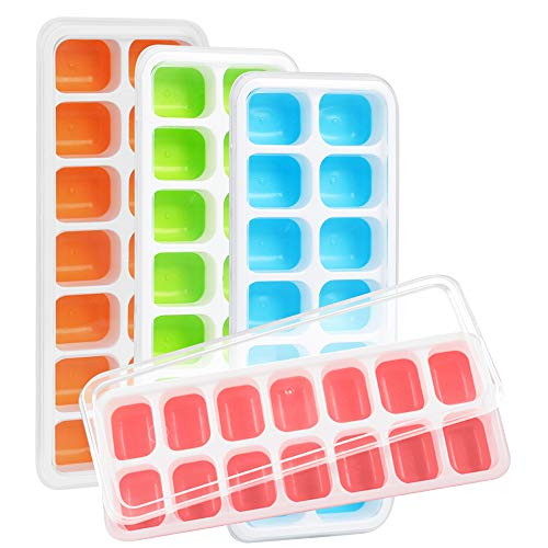 Kootek 4 Pack Silicone Ice Cube Trays with Lid - BPA Free Flexible 56-Ice Cubes Molds Easy Release Ice Trays with Spill-Resistant Removable Cover, Dishwasher Safe and Stackable Durable (Multi)