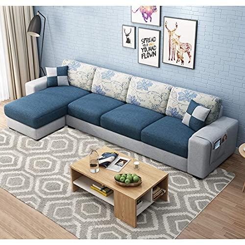 Furny Orlando Fabric 5 Seater LHS L Shape Sofa Set (Blue-Grey)
