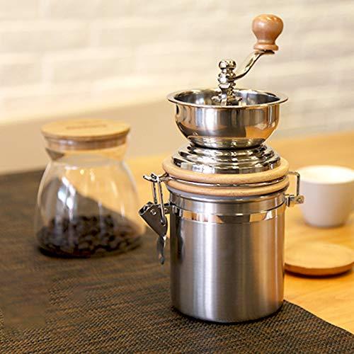 Kaffeemühle manuell Handkurbelmühle im Retro-Stil Mit Keramikmahlwerk,Edelstahl Mit Holzdeckel,Fur Küche Camping Und Outdoor,Geschenk