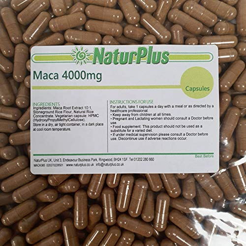 Maca Root Capsules 4000mg – 180 Vegan Capsules – High Strength Maca Root Extract – 6 Month Supply – Made in The UK by NaturPlus