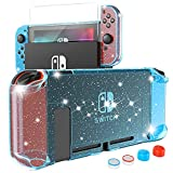 HEYSTOP Carcasa Nintendo Switch, Funda Nintendo Switch con Protector de Pantalla para Nintendo Switch Console y Joy Cons con 4 Agarres para el Pulgar, Nueva Actualización 2021 Blue Glitter Edition