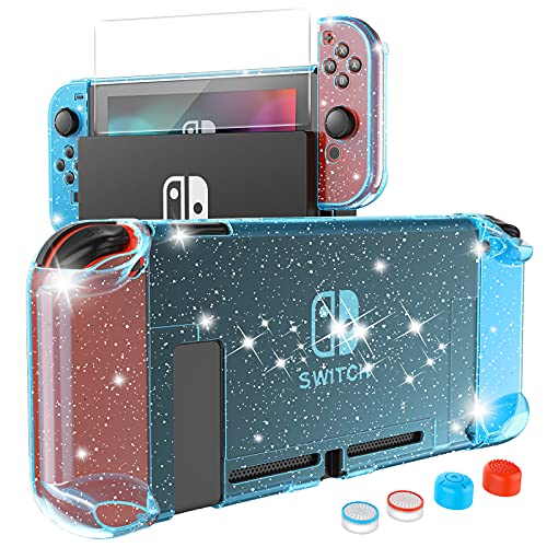 HEYSTOP Case Compatible with Nintendo Switch Dockable, Protective PC Cover Compatible with Nintendo Switch and Joy Con Controller with a Switch Screen Protector and 4 Thumb Stick Caps (Blue Glitter)