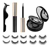 Magnetic Eyelashes With Eyeliner And Mirror Case Waterproof Stable/Non-slip NO Glue Needed 3D Reusable False Lashes Natural-Looking (5-Pairs)